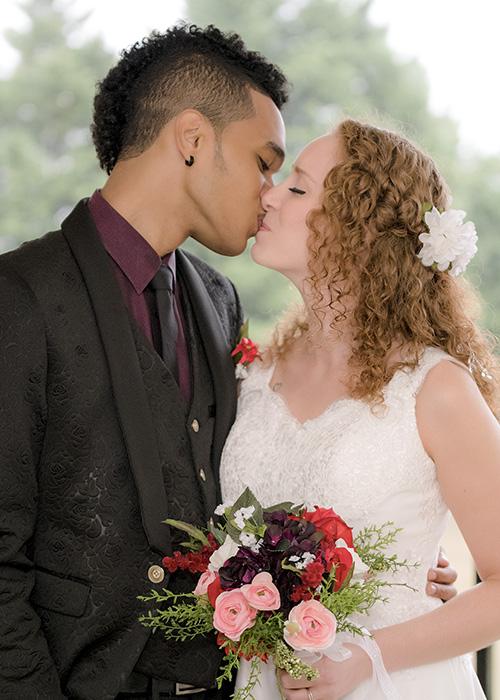 Couple in wedding photo