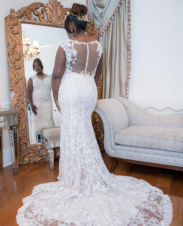 Bride in front of a mirror